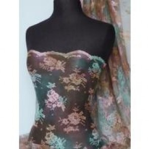 Brown Flounce Tie Dye Light Weight Lace Fabric Q334 BRN