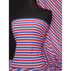 Blue/Red Easy Horizontal Stripe 100% Cotton Interlock Fabric Q749 BLRD