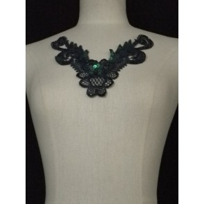 Navy Blue Lace Neck Piece EM140 NYBL