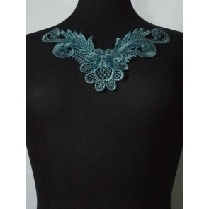 Peacock Blue Lace Neck Piece EM140 PKBL