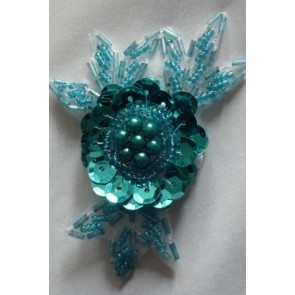 Turquoise Blue Sequin Iron On Motif  EM1 TQ