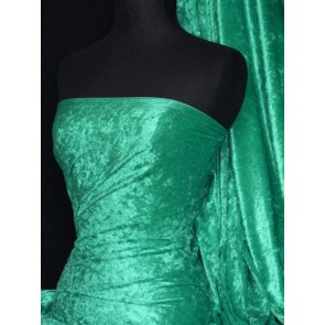 Emerald Green Crushed Velvet/ Velour Stretch Fabric Q156 EMGR