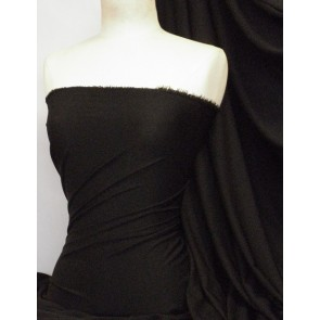 Black Enya Crepe 4 Way Stretch Jersey Fabric Q1169 BK