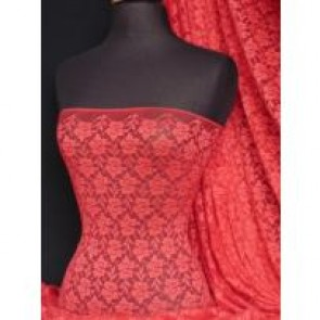 Tomato red flower soft stretch lace with lycra 148TK