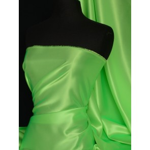 Flo Lime Acetate Satin Fabric Material Q824 FLM