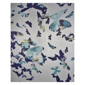 Blue Flutter Butterfly Soft Touch Chiffon Sheer CHF55 BLWH