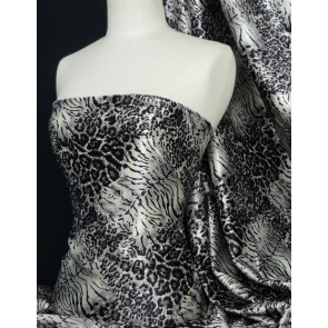 Grey leopard super soft satin fabric Q594 GR