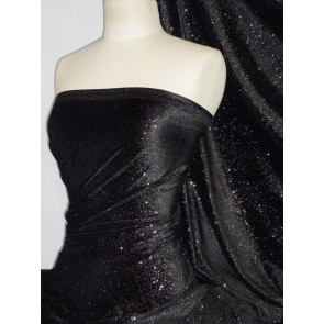 Black/Silver Star Gazer Velvet 4 Way Stretch Spandex Lycra GVEL40 BKSL