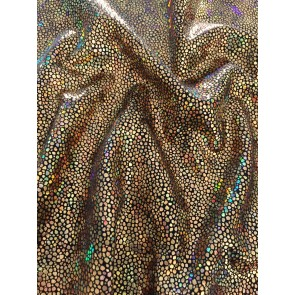 Golden Fever Hologram Rainbow Foil Stretch Spandex HMLYC70 GLDBK