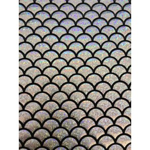 Mermaid Fish Scales Hologram Rainbow Foil Stretch Spandex HMLYC71 SLVBK