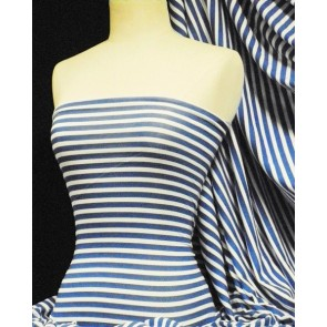 Royal Blue/White Horizontal Stripe Viscose Cotton 4 Way Stretch Fabric Q1103 RBLWHT