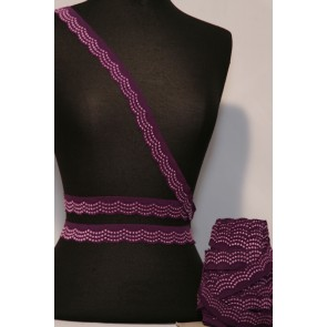 Aubergine Purple Scalloped Lace Trimming SY83 AUB