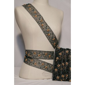 Black Flower Beaded Embellished Trimming SY89 BK