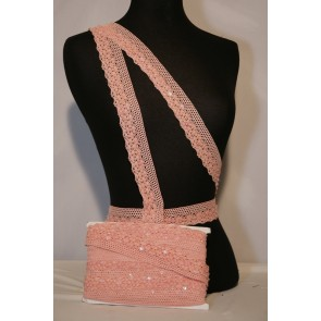 Peach Sequin Cotton Crochet Trim SY96 PCH