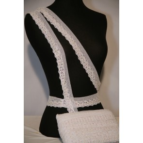 White Sequin Cotton Crochet Trim SY97 WHT