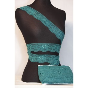 Teal Blue Sequins Lace Trimming SY90 TLBL