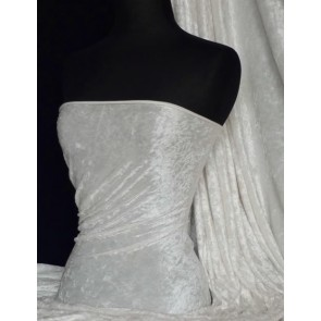 Ivory Crushed Velvet/ Velour Stretch Fabric Q156 IV