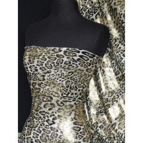 Khaki leopard gold foil 4 way stretch Q619 KHGLD