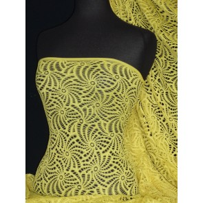 Knit Knitted Crochet Stretch Fabric Material Yellow KNT39 YL