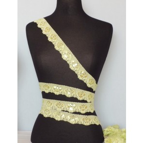 Lemon Sequin Scallop Edging Stretch Lace Trim 4cm Sew
