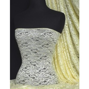 Lemon Sequins Holograms Stretch Lace Lycra Q1 LMN