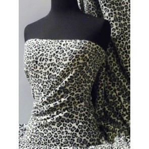 Grey Leopard Micro Fleece Washable Ultra Soft Q633 GR