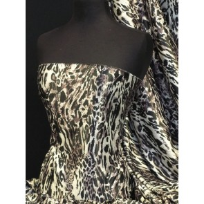 Leopard super soft satin fabric Q834 BKMAU