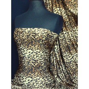 Brown/Black Leopard Sequin Silk Touch 4 Way Stretch Fabric Q892 BR