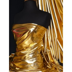 Gold Metallic Foil Stretch Fabric NG253 GLD