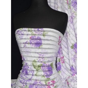 Lilac Damask Rose Frilly Semi Sheer Fabric Q142 LLC