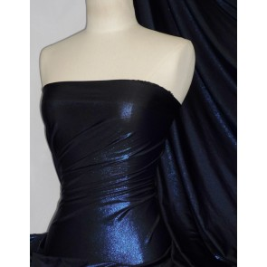Black Lucci Royal Blue Fog Foil Stretch Jersey Fabric Q926 BKRBL