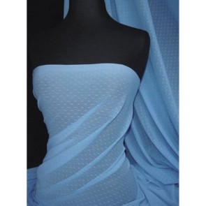 Mid Blue Spot Helenka Stretch Sheer Mesh Material SQ37 MDBL