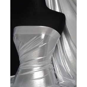 Silver Ice On White Metallic Foil Lamé Fabric Q714 WHTSLV