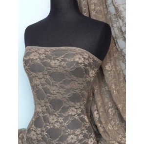Mocha flower soft stretch lace with lycra fabric Q137 MCH