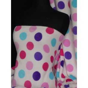 Multi polka dots micro fleece washable ultra soft fabric Q818 MLT