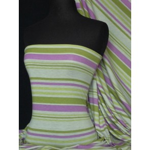 Green Multi Stripe Viscose Cotton Stretch Q666 PNGRN