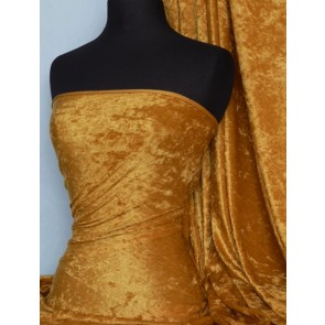 Mustard Crushed Velvet/ Velour Stretch Fabric Q156 MST