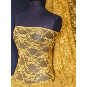 Mustard flower soft stretch lycra lace Q137 MSTD
