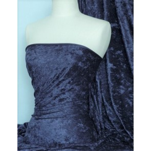 Navy Crushed Velvet/ Velour Stretch Fabric Q156 NY