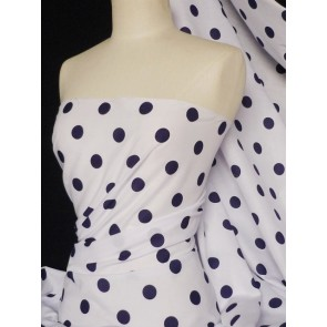 Navy Polka Dots Poly Cotton Fabric Q708 NY