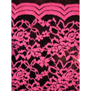 Neon pink rose scalloped stretch lace lycra fabric Q1170 NPNBK