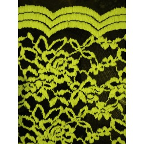 Neon yellow rose scalloped stretch lace lycra fabric Q1170 NYLBK