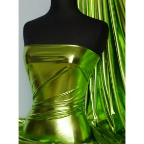 Lime Green Wet Look Foil 4 Way Stretch Lycra Fabric NG253 LMGRN