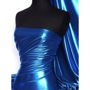 Royal Blue Wet Look Foil Stretch Lycra Fabric NG253 RBL