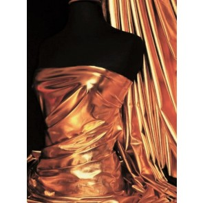 Rose Gold Wet Look Foil Stretch Lycra Fabric NG253 RSGD
