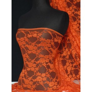 Orange Flower Soft Stretch Lycra Lace Q137 OR