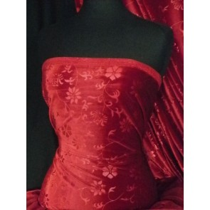 Ruby Red Flower Spandex Velvet Stretch Fabric Q1287 RBRD