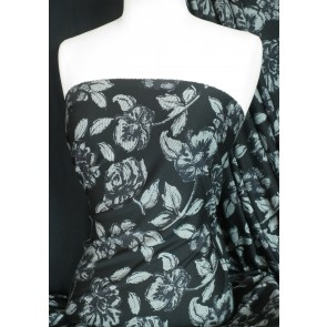 Black/Grey Flower Printed Morgan Crepe Viscose Lycra Jersey Q1290 BKGR