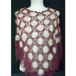 Clearance Purple/Beige Acrylic Knit Poncho CL PPLBG