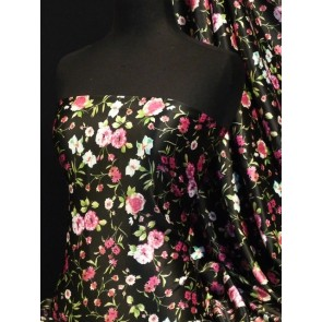 Black/ Pink Flowers Super Soft Satin Non-Stretch Fabric Q832 BKPN